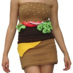 Girl wearing hamburger-dress