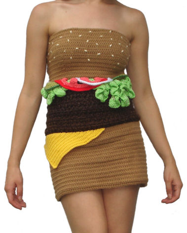 Girl wearing hamburger-dress