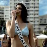 Miss Turkey eating a burger