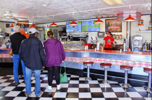 Inside Wayne's -- the line to order