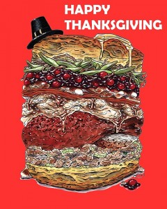 happy thanksgiving turkey burger!