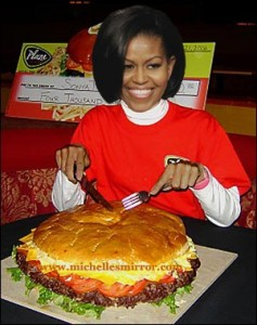 first lady Michelle with giant hamburger