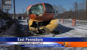 ABC news affiliate report about crashed Oscar Meyer Weiner Mobile