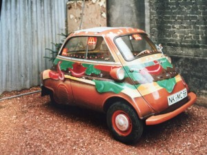 old BMW Isetta painted like a hamburger