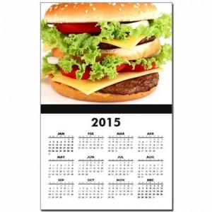 hamburger_on_a_white_background_calendar_print